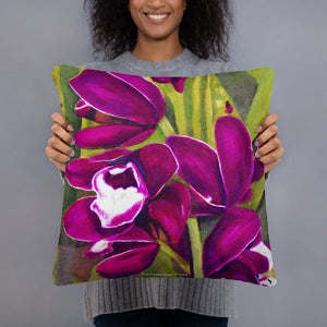 Decorative Pillow - Dark Magenta Orchids - FREE SHIPPING