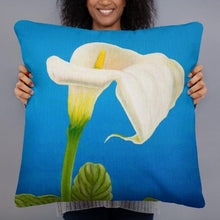 Load image into Gallery viewer, Decorative pillow - White Calla lily on blue - FREE SHIPPING