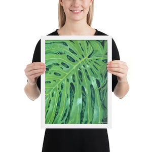 Framed Print - Monstera Leaf in vivid green - FREE SHIPPING