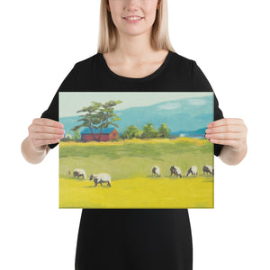 Canvas Print - Oregon sheep farm with red barn - FREE SHIPPING