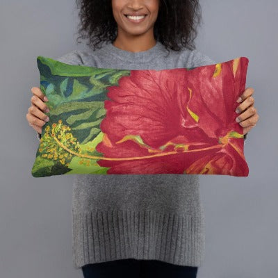 Decorative Pillow – Deep red hibiscus -  FREE SHIPPING