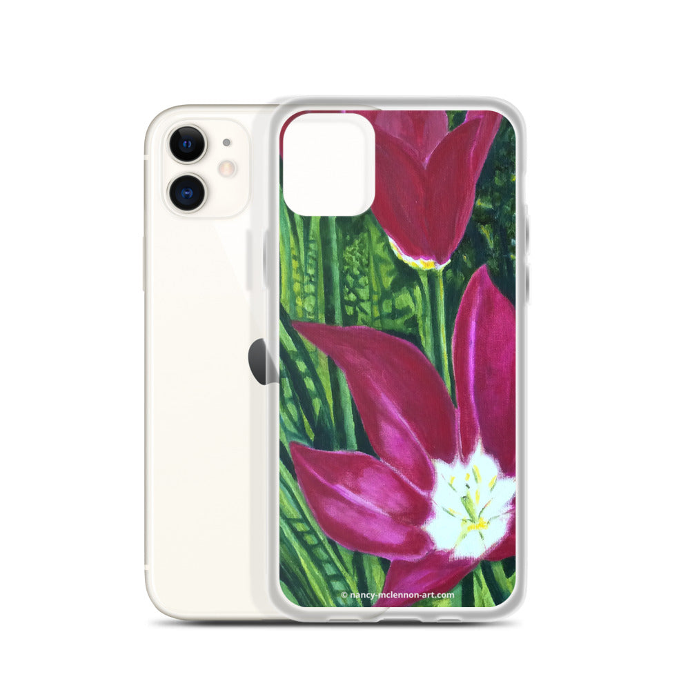 iPhone cell case – Magenta open tulips - FREE SHIPPING