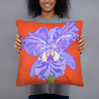 Decorative Pillow - Iris explosion on red - FREE SHIPPING