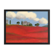 Load image into Gallery viewer, Framed poster - Farm fields with poppies - FREE SHIPPING