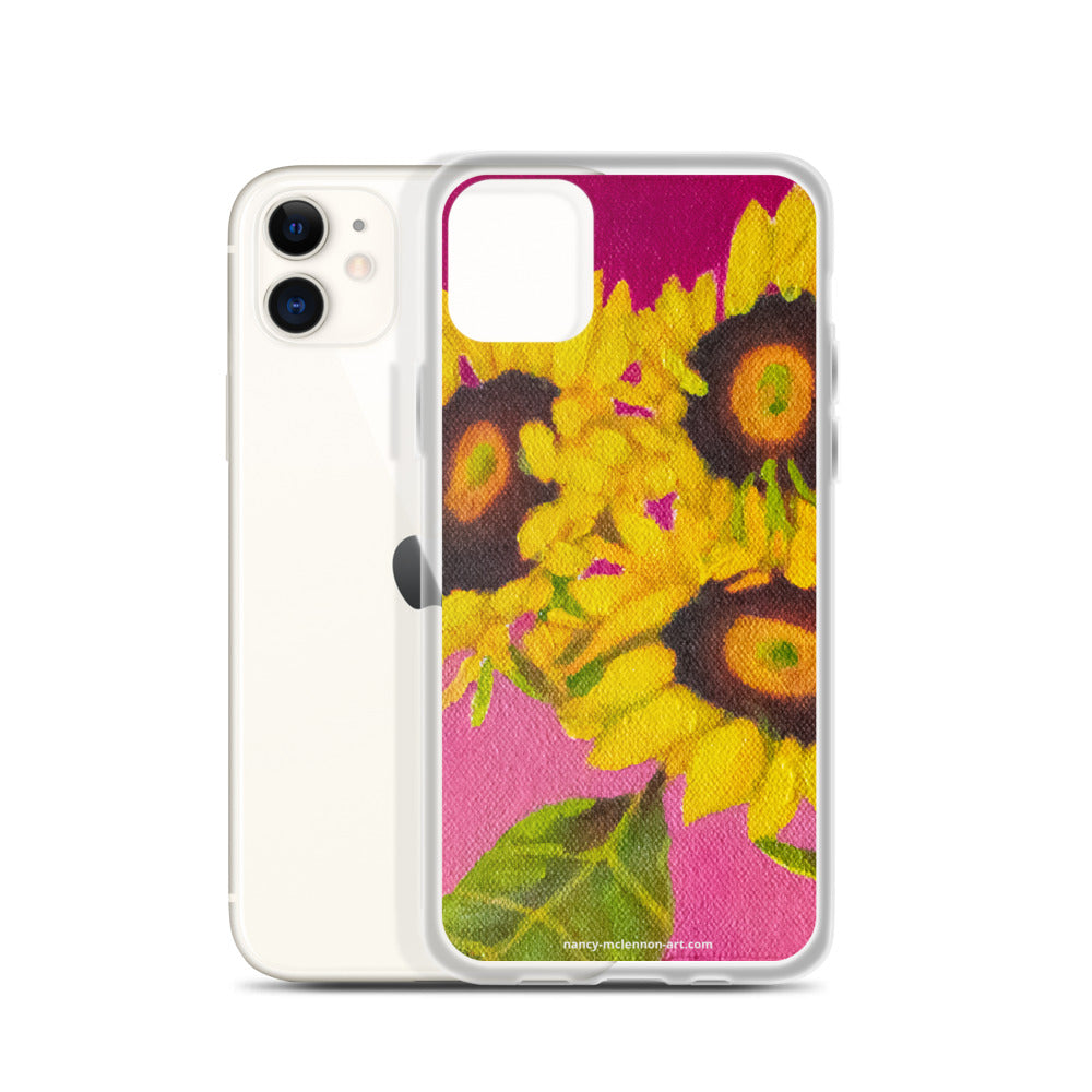 iPhone cell case – Trio of sunflowers on fuchsia  - FREE SHIPPING