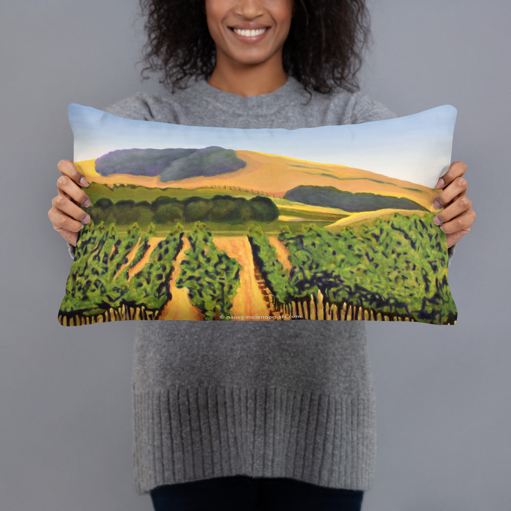 Decorative Pillow - Lush Purple vineyard in golden hills - FREE SHIPPING