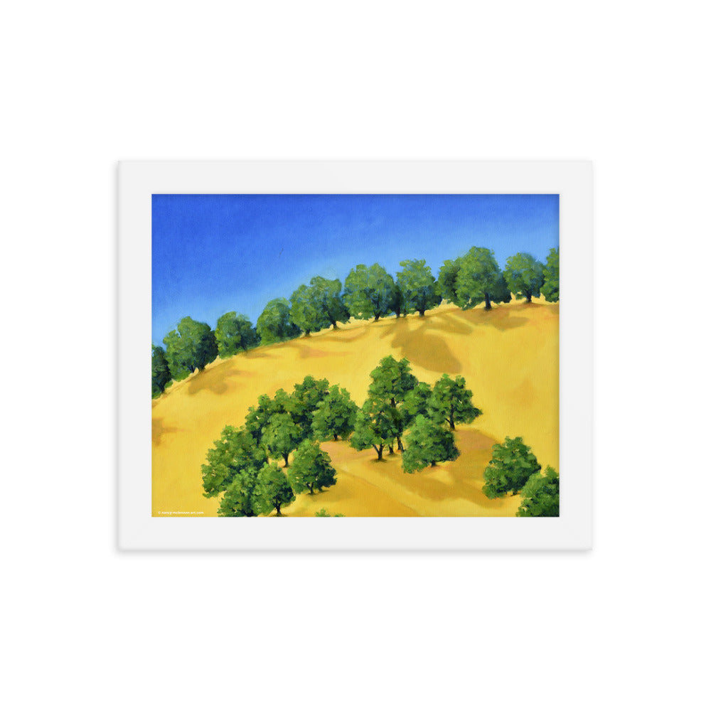 Framed poster - Lake Berryessa hills, CA in summer - FREE SHIPPING