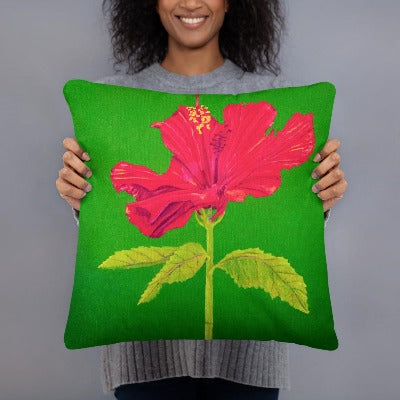 Decorative Pillow - Tall Hibiscus rosa - FREE SHIPPING