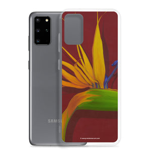 Samsung Case - Bird of Paradise on dark red - FREE SHIPPING
