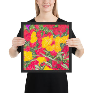 Framed print - Roses and mop-heads - FREE SHIPPING