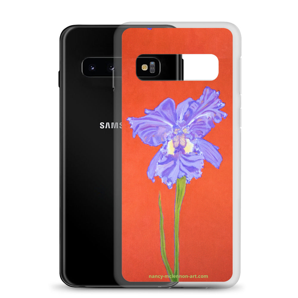 Samsung Case - Purple Iris on red - FREE SHIPPING
