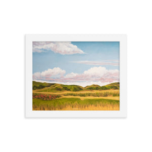 Framed poster - Spring clouds with California poppies 1 - FREE SHIPPING