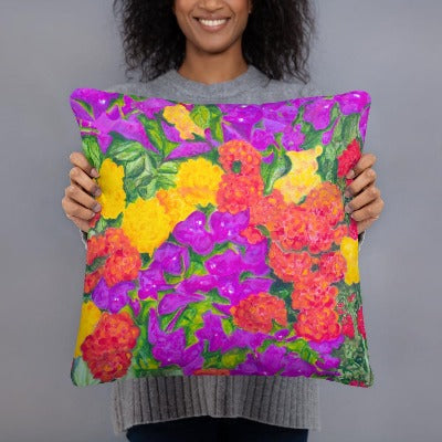 Decorative Pillow - Rainbow Garden - FREE SHIPPING