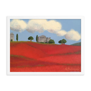 Framed poster - Farm fields with poppies - FREE SHIPPING