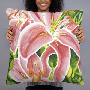 Decorative Pillow - Stargazer Lily - FREE SHIPPING