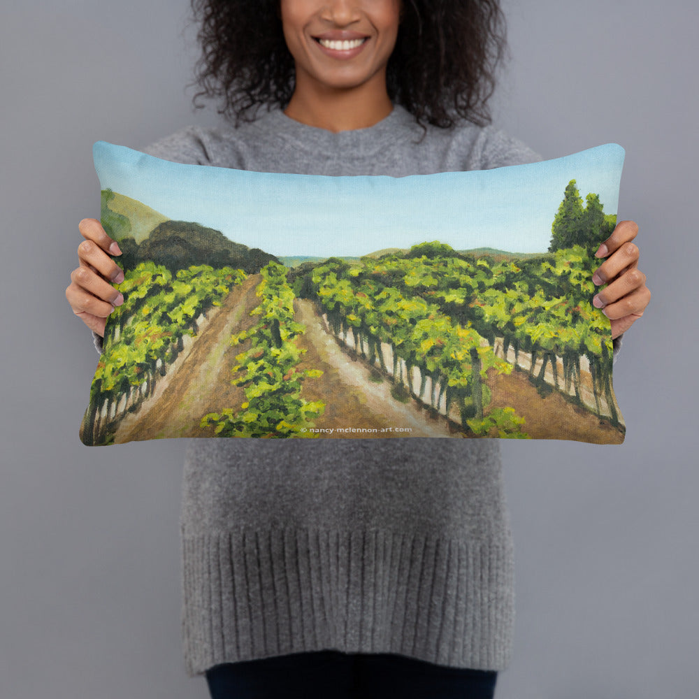 Decorative Pillow - Napa Valley vineyard before the harvest