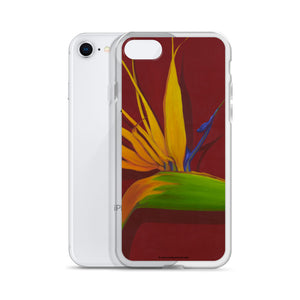 iPhone Case - Bird of Paradise on dark red - FREE SHIPPING