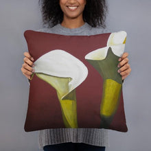 Load image into Gallery viewer, Decorative Pillow – White Calla lilies on red - FREE SHIPPING