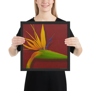 Framed Print - Bird of paradise on dark red - FREE SHIPPING