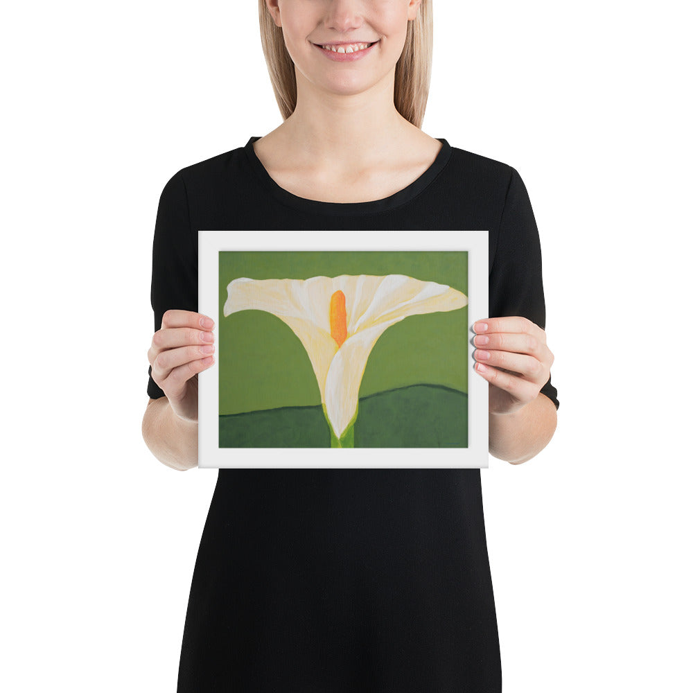 Framed Print - White calla lily on green - FREE SHIPPING