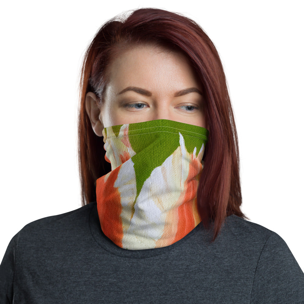 Face Cover - Orange Tulips on green - FREE SHIPPING