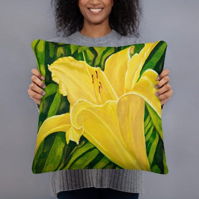 Decorative Pillow - Yellow lily - FREE SHIPPING