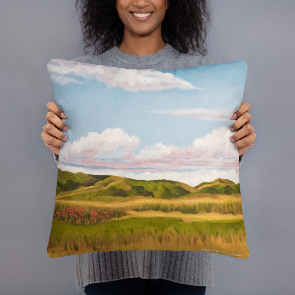 Decorative Pillow - Spring clouds with CA poppies 1 - FREE SHIPPING