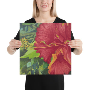 Canvas Print - Deep red hibiscus - FREE SHIPPING