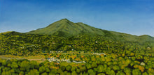 Load image into Gallery viewer, Mt Tamalpais, the landmark of Marin County, as the morning sun rises, under a clear blue sky. It features the tiny towns under her shadow and their lush trees