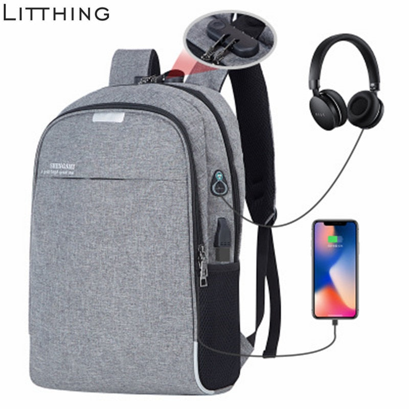 USB Smart Bag School Anti-Theft College Backpack Charging Laptop Student NEW