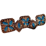 204 CUSTOM CONCHO - Copper, Brown and Blue Floral