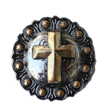 010 STANDARD CONCHO - Brass and Silver Cross