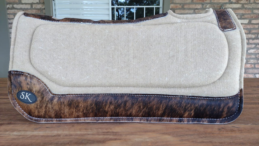 BEIGE WITH DARK BROWN HIDE SK SPINAL RELIEF SADDLE PAD
