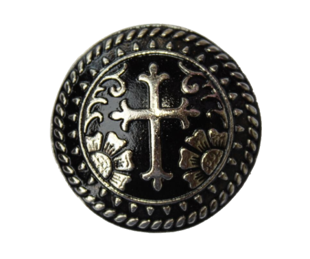 014 STANDARD CONCHO - Black and Silver Cross with Flowers