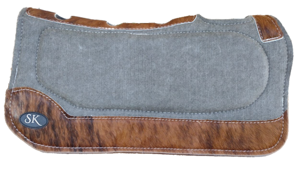 GRAY WITH DARK BROWN HIDE SK SPINAL RELIEF SADDLE PAD