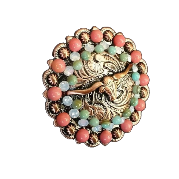 203 CUSTOM CONCHO - Copper Longhorn with Pink and Turquoise
