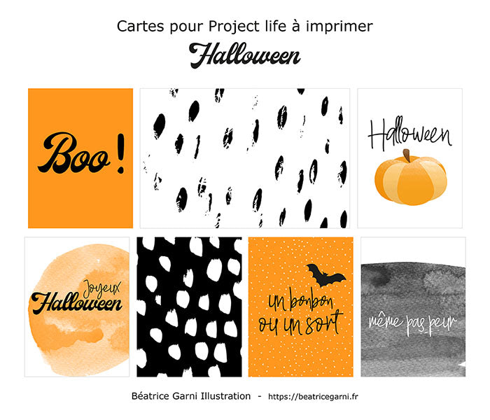 Cartes à imprimer pour Project Life Halloween - Freebie