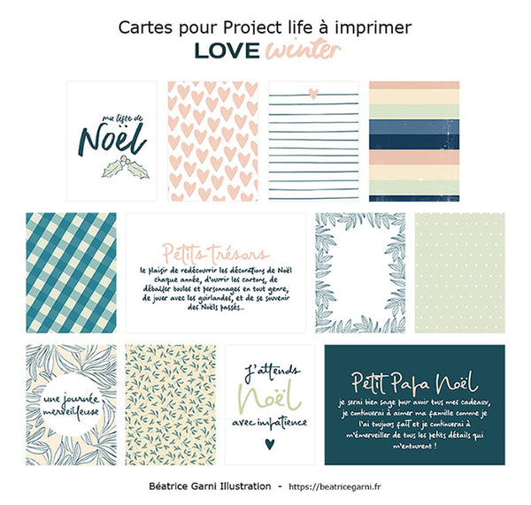 Cartes à imprimer pour Project Life Love winter