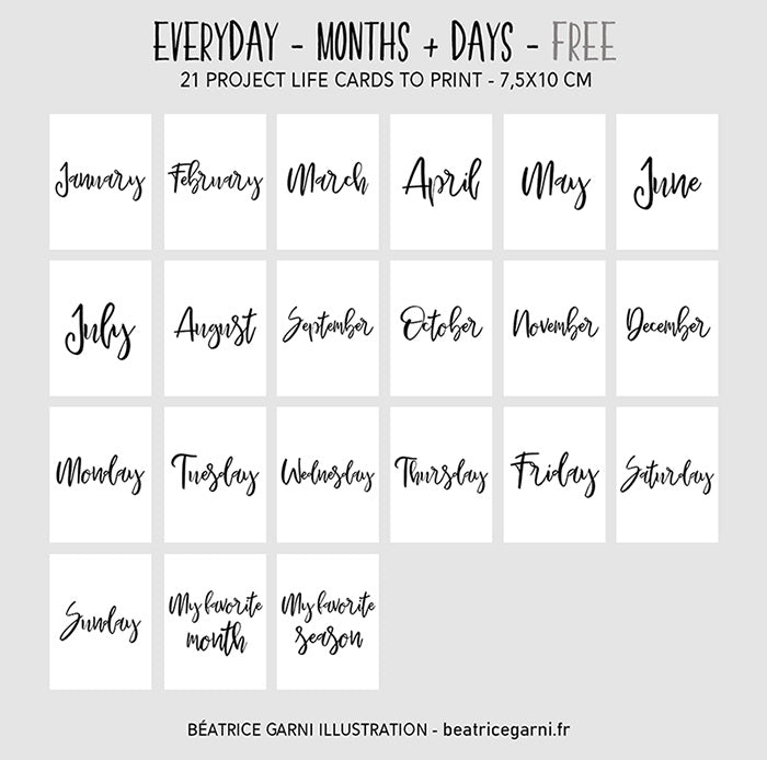 Free - Project Life Cards Everyday - Days and months