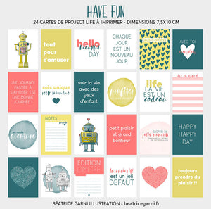 Cartes à imprimer pour Project Life Have fun
