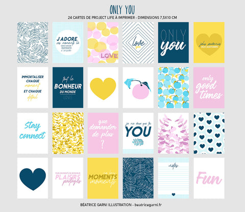 Cartes à imprimer pour Project Life Only You