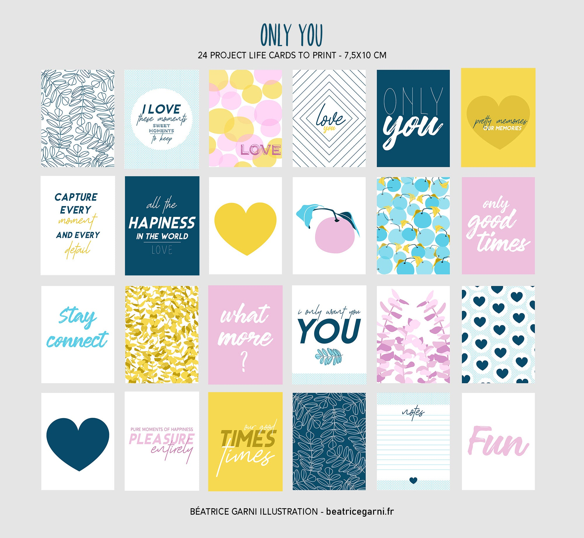 Project Life Cards to print - Only You