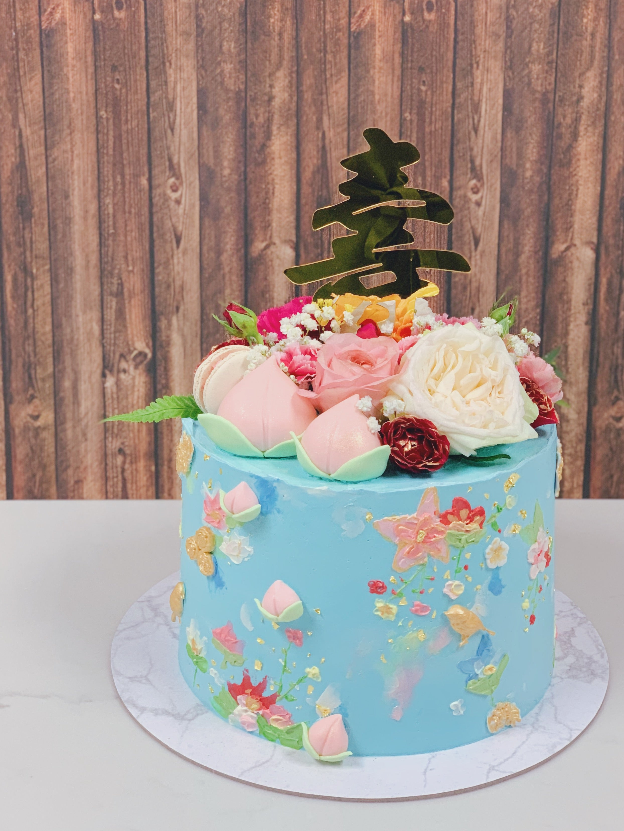 Longevity Handpainted Cake with Florals