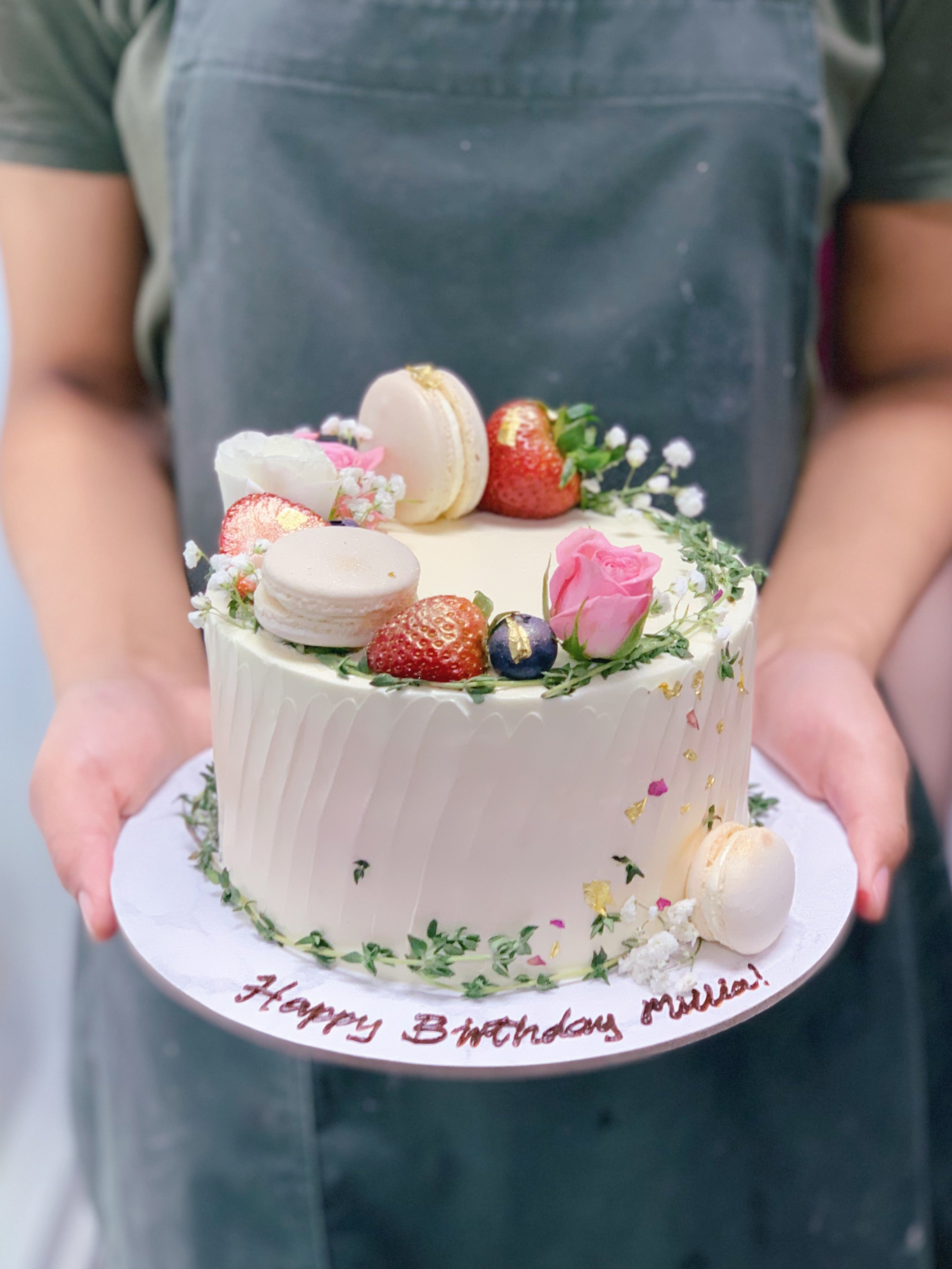 Berries Floral and Macarons Striped Cake