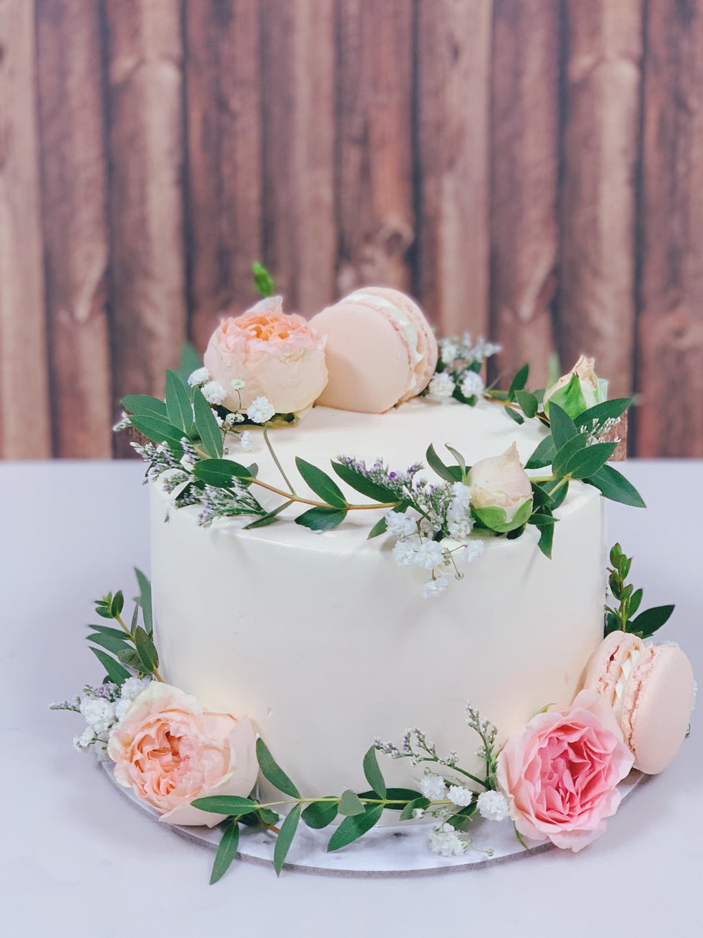 Blush Florals with Macarons Wreath Cake
