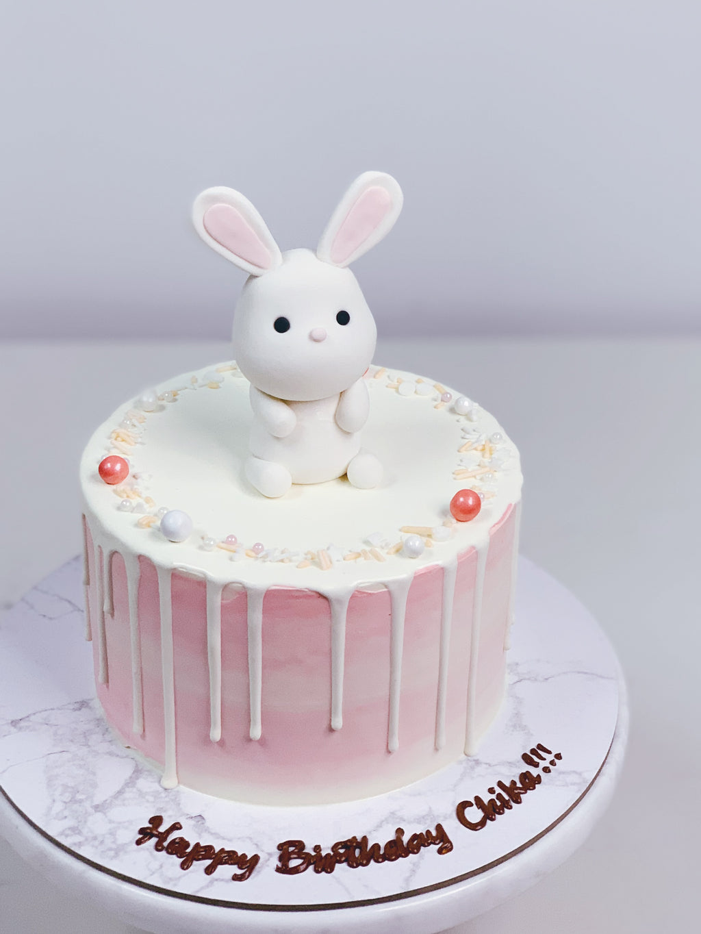 Bunny Pink Watercolour Drip Cake
