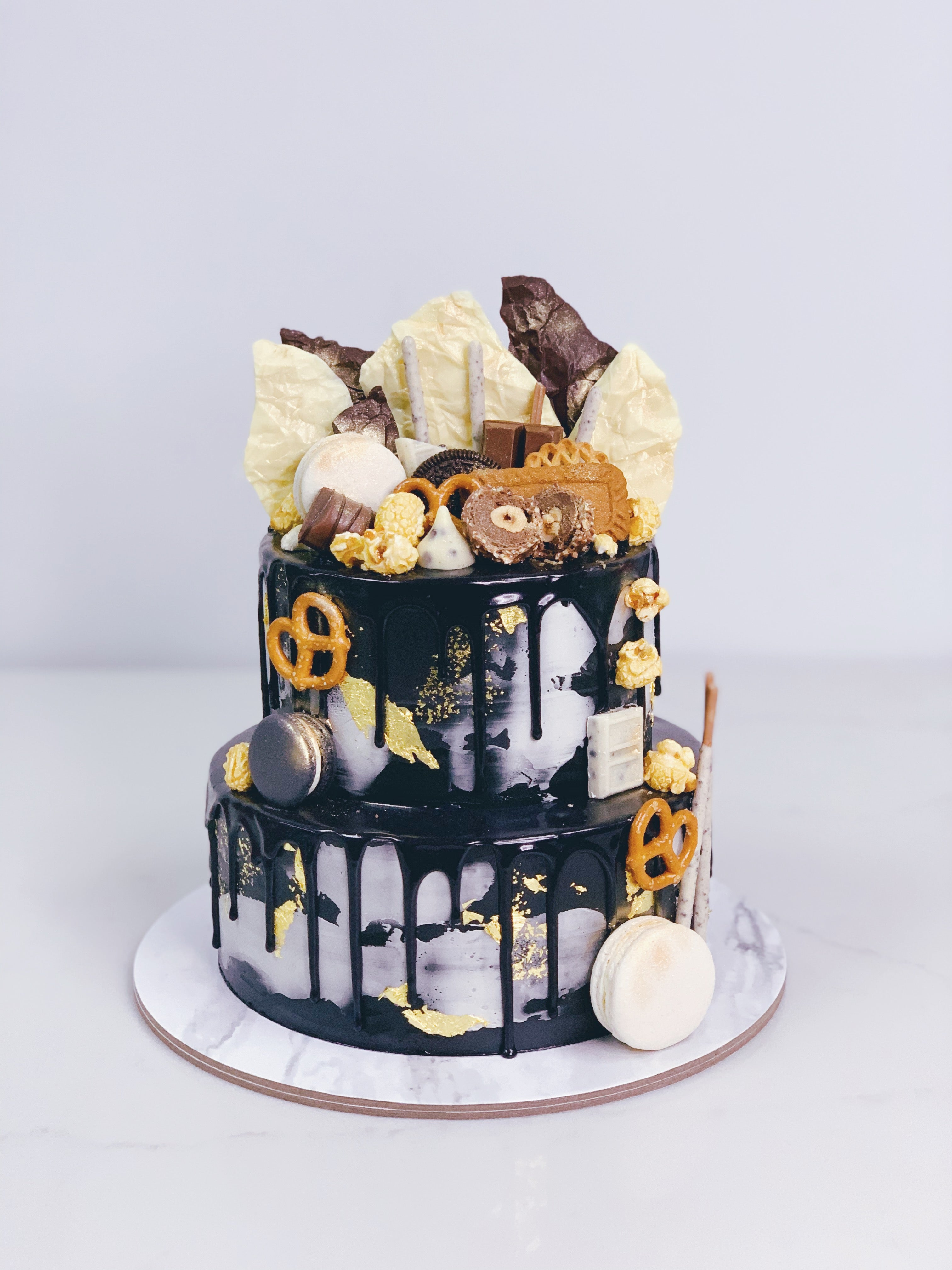Monochrome Drip Cake with Toppings and Chocolate Shards