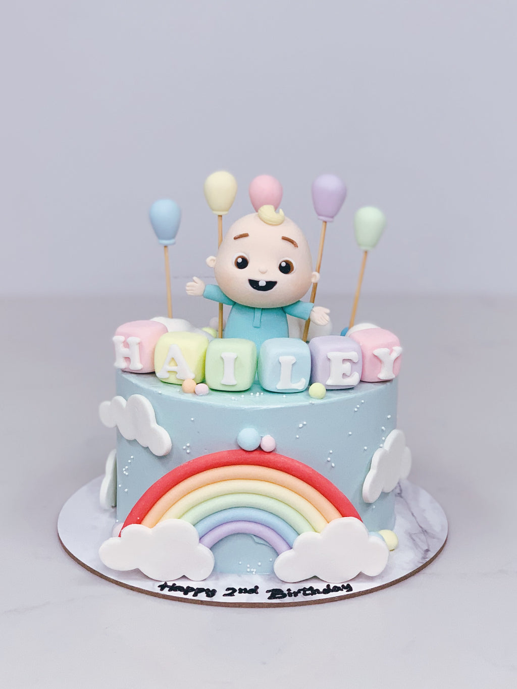 Baby JJ Cake with Rainbow, Clouds and Balloons