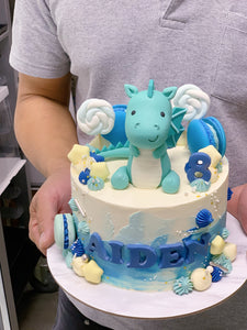 Dragon Blue Cake with Macarons, Lollipop and Stars