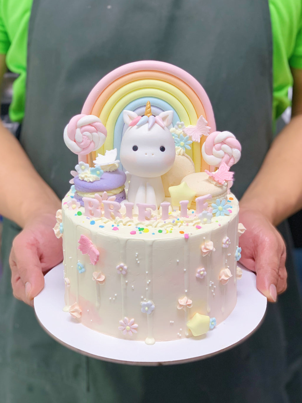 Pastel Watercolour Drip Cake with Unicorn and Rainbow